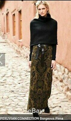 Peruvian Connection Medici long maxi skirt knit pima cotton new L XL $179