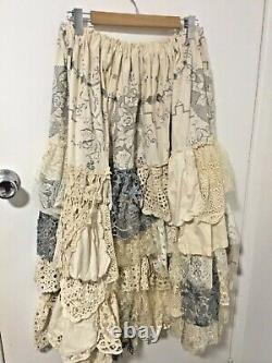 Plus Size Maxi Ruffle Skirt Cream Cotton With Layers Of Vintage Lace & Crochet