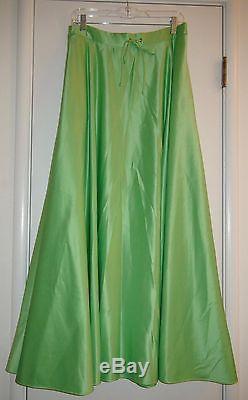 Polo Ralph Lauren Elizabeth Lime Green Satin Drawcord Maxi Skirt Sz 6 $698 NWT