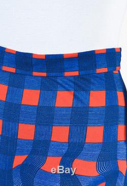 Prada Blue & Red Jersey Knit Warped Gingham Plaid Maxi Skirt SZ 40