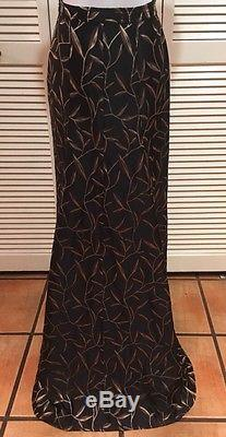 Prada Long Black Silk Brocade Maxi Skirt With Leaf Embroidered Design, SZ 42