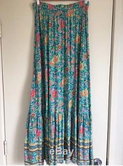 Pre-Owned Spell Designs Folk Town Turquoise Maxi Skirt, Size Small
