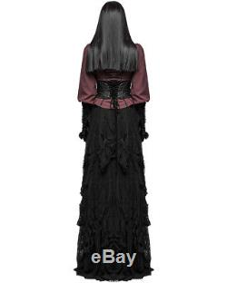 Punk Rave Gothic Maxi Skirt Long Black Lace Steampunk Vintage Victorian Witch