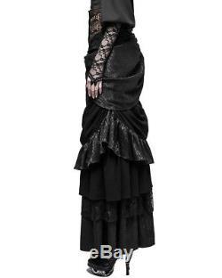 Punk Rave Womens Steampunk Skirt Long Black Brown Gothic VTG Victorian Bustle