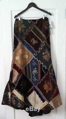 Ralph Lauren Blue Label Patchwork Denim Embroideried Velvet Wool Ball Skirt