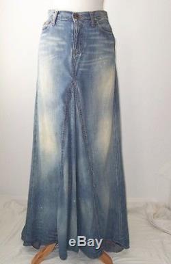 Ralph Lauren Distressed Denim Ballroom Long Maxi Skirt 4