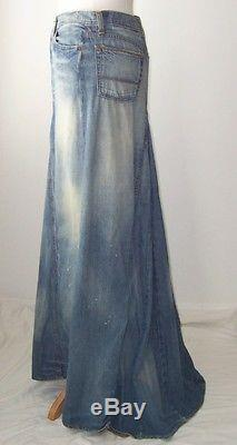 Ralph Lauren Distressed Denim Ballroom Long Maxi Skirt 4
