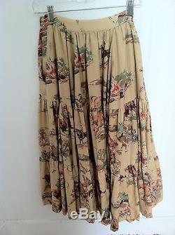 Ralph Lauren Maxi Skirt Vintage Blue Label Cowboy Western Cotton 4