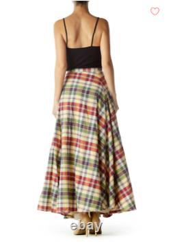 RALPH LAUREN RUGBY Madras Plaid 210 Full Sweep Skirt Tulle Band Lining 8 TTCB