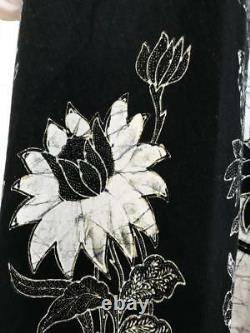RARE Batik Vtg 1970s Indian Cotton Hand Blocked Wrap Maxi Skirt Bohemian S L