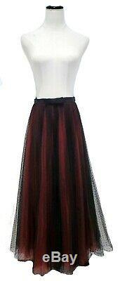RARE CHRISTIAN DIOR Black Red Polka Dot Tulle Sheer Wrap Maxi Long Skirt 36 / 4
