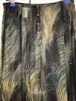 RARE Dries van Noten Amazing 100% Silk Long Asymmetric Maxi Skirt Tropical Palm