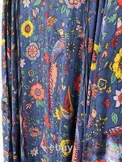 RARE Spell Designs Lovebird Half Moon Skirt Deep Sky Blue Maxi Flowy Large Gypsy
