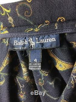 Rare Vintage Ralph Lauren Wool Blend Maxi Skirt Blue Label Paisley Boho 4