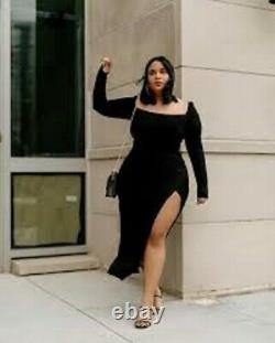 REFORMATION Black Dottie Long Sleeve High Slit Wrap Skirt Jersey Midi Dress XL