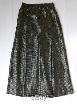 RETROCHIC Christian Dior Vintage 70s Gold & Black Lurex Silk Mix Maxi Skirt S