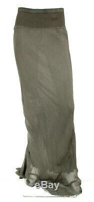 RICK OWENS 2011 ANTHEM Dust Gray Silk Ribbed Knit Waist Maxi Skirt 44