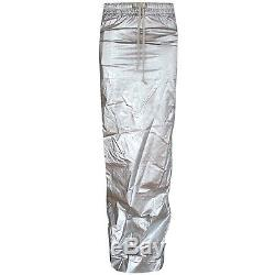 RICK OWENS DrkShdw long tapered silver metallic runway pillar slit skirt S NEW