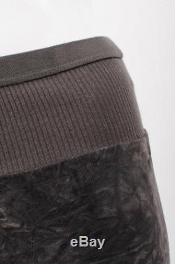 RICK OWENS VTG Runway 2005 Dark Grey Velvet VE Ribbed Elastic Waist Maxi Skirt 6