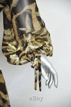 ROBERTO CAVALLI Metallic SILK TIGER PRINT BLOUSE+STUDDED MAXI Long SKIRT40/44