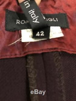 ROMEO GIGLI WOMENS VINTAGE BURGUNDY LONG MERMAID WOOL SKIRT, Size 42, Italy