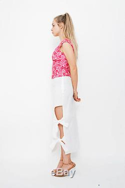 ROSIE ASSOULIN Holey Moley White Cotton Cut Out Side Knot Tied Midi Skirt 2/S