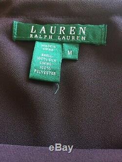 Ralph Lauren 100% Silk Medium Long Maxi Skirt Ruffles Purple Green Plaid