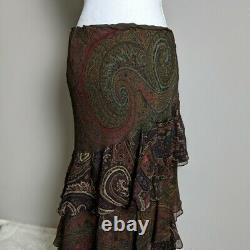 Ralph Lauren Black Label Women's Size 12 100% Silk Brown Paisley Boho Maxi Skirt