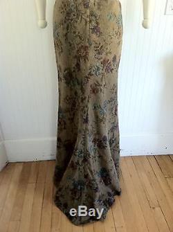 Ralph Lauren Black Label Wool Maxi Train Ball Skirt Floral 6 Lambswool USA