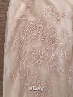 Ralph Lauren Blue Label Collection Antique Embroidered Ruffle Maxi Skirt Purple