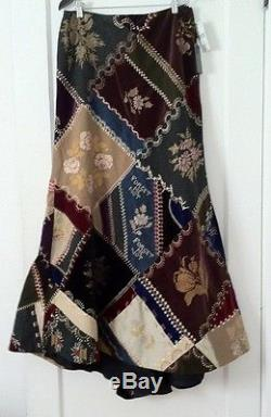 Ralph Lauren Blue Label Patchwork Quilt Maxi Velvet Wool Ball Skirt Train 6