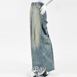 Ralph Lauren Collection Blue Denim Yellow Tinted Draped Maxi Skirt SZ 8