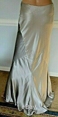 Ralph Lauren Collection Purple Label Silver Silk Maxi Dress Long Runway Skirt 6