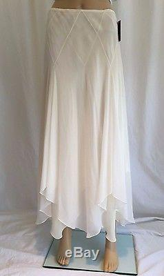 Ralph Lauren Purple Label Chiffon Silk Skirt Size 6 White Asymmetrical Long Maxi