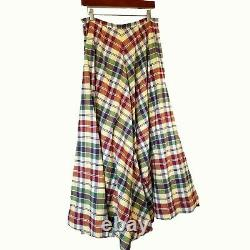 Ralph Lauren Rugby Madras Plaid 210 Full Sweep Skirt Tulle Band Lining 8 EEUC