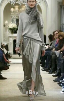 Ralph Lauren Women's Dress Ruffle Detail Skirt Silver Long Maxi Size 8 Medium