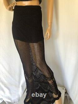 Rare Free People FP Spun Gothic Crochet Maxi Skirt M $198