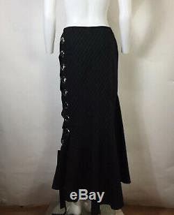 Rare Vtg Jean Paul Gaultier Black Pinstripe Long Open Grommet Skirt S