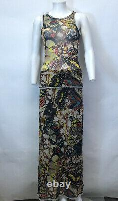 Rare Vtg Jean Paul Gaultier Butterfly Print Mesh Top & Skirt Dress Set S