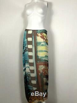 Rare Vtg Jean Paul Gaultier Film Print Silk Skirt S