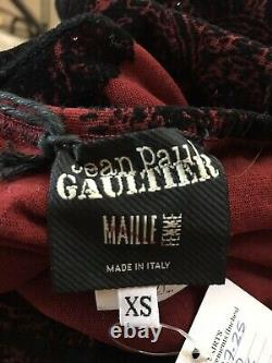 Rare Vtg Jean Paul Gaultier Red Velvet Detail Maxi Skirt XS