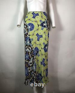Rare Vtg John Galliano Green & Blue Floral Pattern Printed Silk Skirt XS SS2002