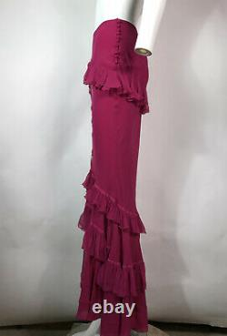 Rare Vtg John Galliano Long Pink Ruffle Skirt SS2004 XS