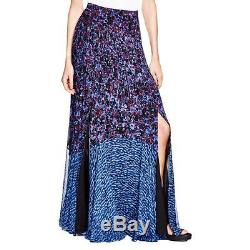 Rebecca Taylor 6659 Womens Blue Chiffon Floral Print Maxi Skirt 4 BHFO