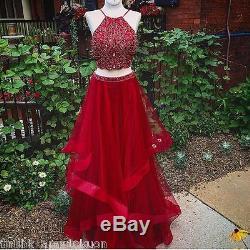 Red Halter Two Piece Prom Dress Beaded Crop Top Layered Skirt Long Evening Dress