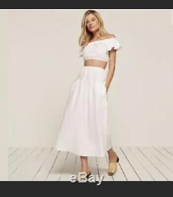 Reformation Bronte High Waisted Linen Pocket Maxi Skirt, S, White