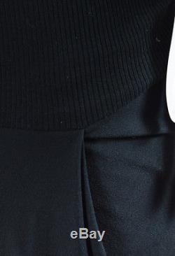 Rick Owens Black Silk & Wool Knit Asymmetric Long Slit Maxi Skirt SZ 40