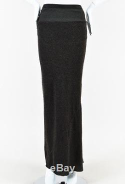 Rick Owens Brown Gray Wool Ribbed Waist Paneled Frayed Hem Maxi Skirt SZ 4