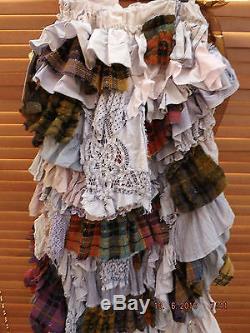 Ritanotiara Osfa Steampunk Tartan Plaid Cutaway Lace Long Skirt Maxi Goth Gothic