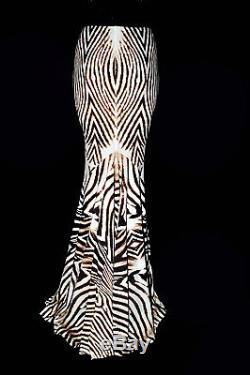 Roberto Cavalli Cream Stretch Animal Pattern Mermaid Long Skirt